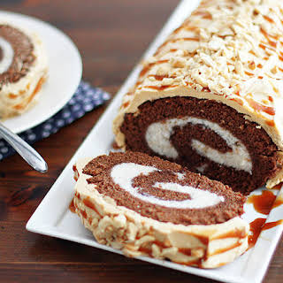 Chocolate Roll Cake With Peanut Butter Buttercream Frosting.