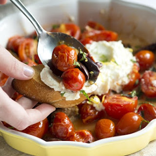 Lightly Roasted Tomatoes with Ricotta and Mint