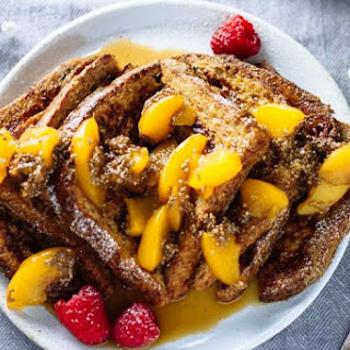Healthy French Toast w/ Peach Chia Seed Compote.