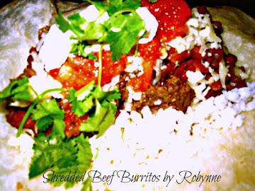 Spicy Shredded Beef Burritos~robynne Recipe