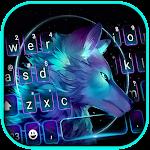 Neon Galaxy Wolf Keyboard Background icon