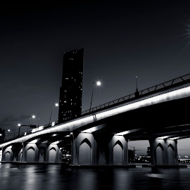 Festival City Bridge Dubai at twilight by Amr Younis - Buildings & Architecture Bridges & Suspended Structures ( black and white, dubai, bridge, night shot )