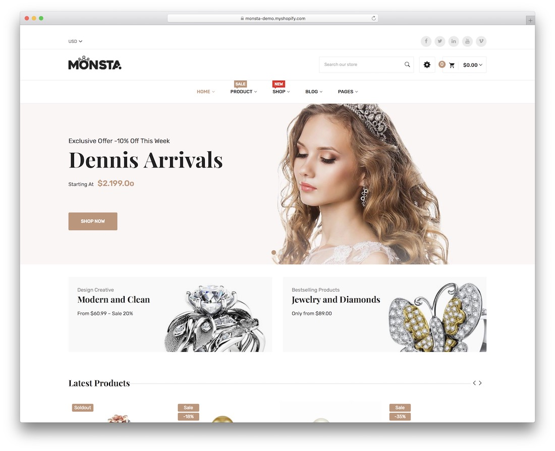 Shopify jewelry themes Monsta