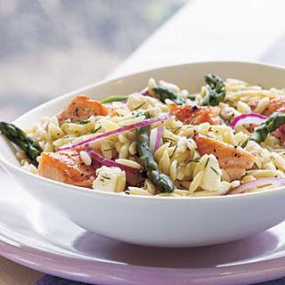 Salmon, Asparagus, and Orzo Salad with Lemon-Dill Vinaigrette.