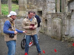 Photo: Conducting GPR (ground penetrating radar) survey in Templar church in Scotland.