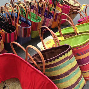 Colourful baskets for sale in Provence by Pam Blackstone - Artistic Objects Clothing & Accessories ( provence, baskets, bags,  )