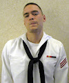 Photo: MMFN (E-3) in summer cracker jack  (dress) uniform. Machinist Mate Fireman. National Defense Service Medal -  Navy Sharpshooter designation