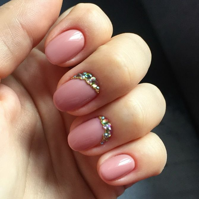 short nails Nude manicure