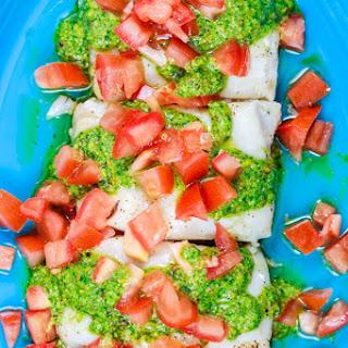 Easy Baked Cod Recipe with Pistachio Cilantro Pesto