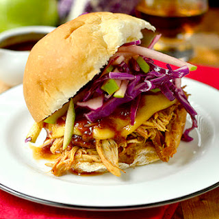 Crock Pot Bourbon Chicken Sammies with Crunchy Apple Slaw.