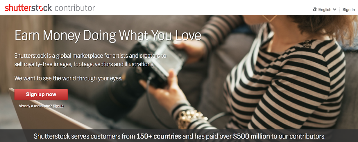 註冊時須留意要成為的是Shutterstock contributor,而非一般的購買圖庫會員。