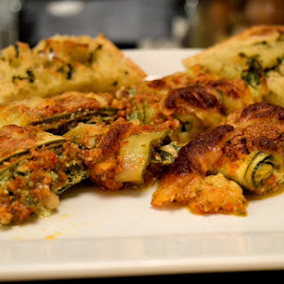 Zucchini Rolls stuffed with Spinach and Ricotta.