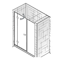 Duschkabinen_Premium Softcube, Raumnische, 3-teilig pendelbar