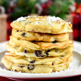 Cranberry White Chocolate Chip Pancakes.