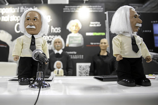 Hanson Robotics' Albert Einstein HUBO robots speaks during the 2017 Consumer Electronics Show (CES) in Las Vegas, Nevada. Picture: Bloomberg