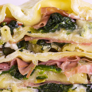 Lasagna with Spinach, Spring Onions and Mortadella.