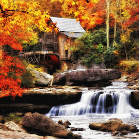 Babcock mill  by Ernie Page - Buildings & Architecture Public & Historical ( mill, glade creek mill, west virginia, state park, fall, babcock, babcock state park, fall color,  )