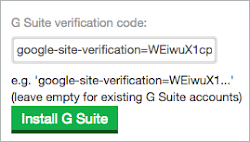 The TXT record is entered into the G Suite verification code field, and the Install G Suite button is below it.