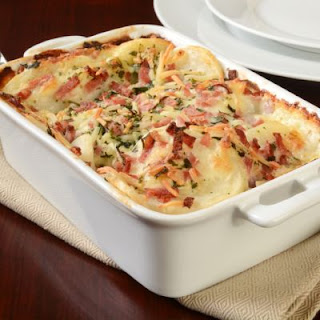 Hot And Bubbly Scalloped Potatoes With Ham.
