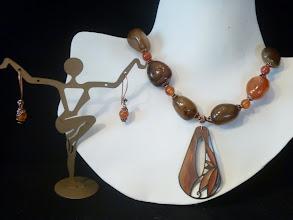 Photo: <BEREHYNYA> {Great Goddess Protectress} unique one-of-a-kind statement jewellery by Luba Bilash ART & ADORNMENT  GOLDEN RAYS OF AUTUMN - ЗОЛОТА ОСІНЬ - hand-painted pendant, agate, carnelian, copper SOLD/ПРОДАНИЙ