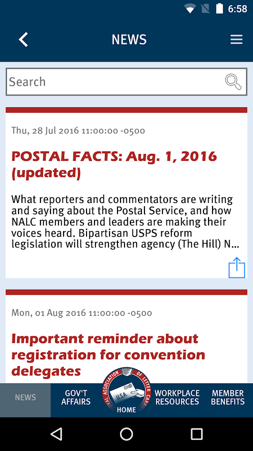 NALC Member App- screenshot