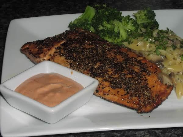 Marinated Salmon Seared In A Pepper Crust