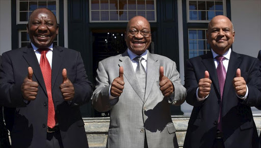 President Jacob Zuma and Deputy President Cyril Ramaphosa with Finance Minister Pravin Gordhan.
