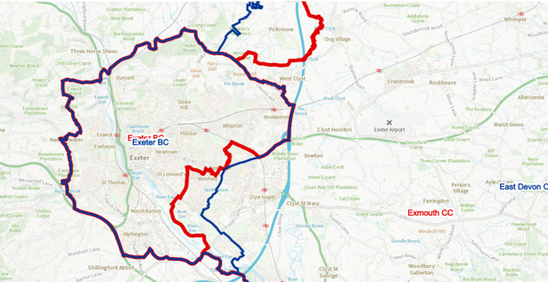 Changes to the electoral boundaries proposed for the Exeter area - existing boundaries in blue and proposed changes in red