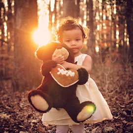 Connection by Maria Lucas - Babies & Children Child Portraits ( outdoor, fine art photography, childhood, sunset, connection, teddy bear,  )