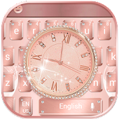 Diamond Rose Gold Watch Theme for Keyboard