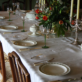 A very fine table for dinner by Tony Pitt - Buildings & Architecture Other Interior ( plates, glasses, chairs, candles, table, flowers,  )