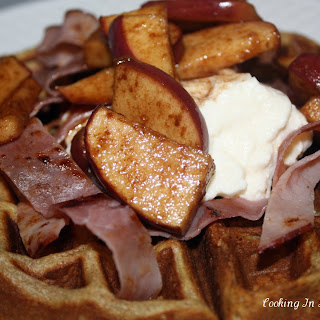 Waffles With Roasted Apples and Maple Ricotta Spread