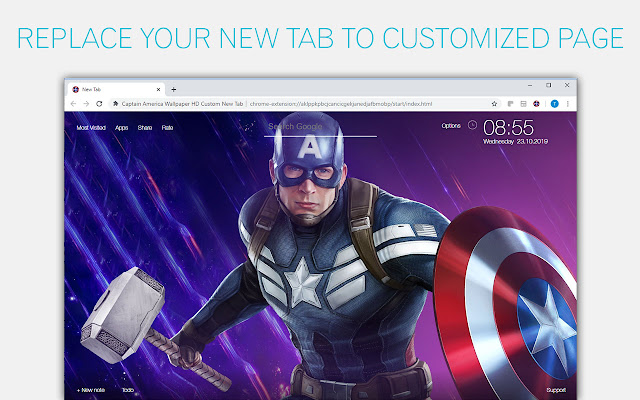 Captain America Backgrounds HD Custom New Tab