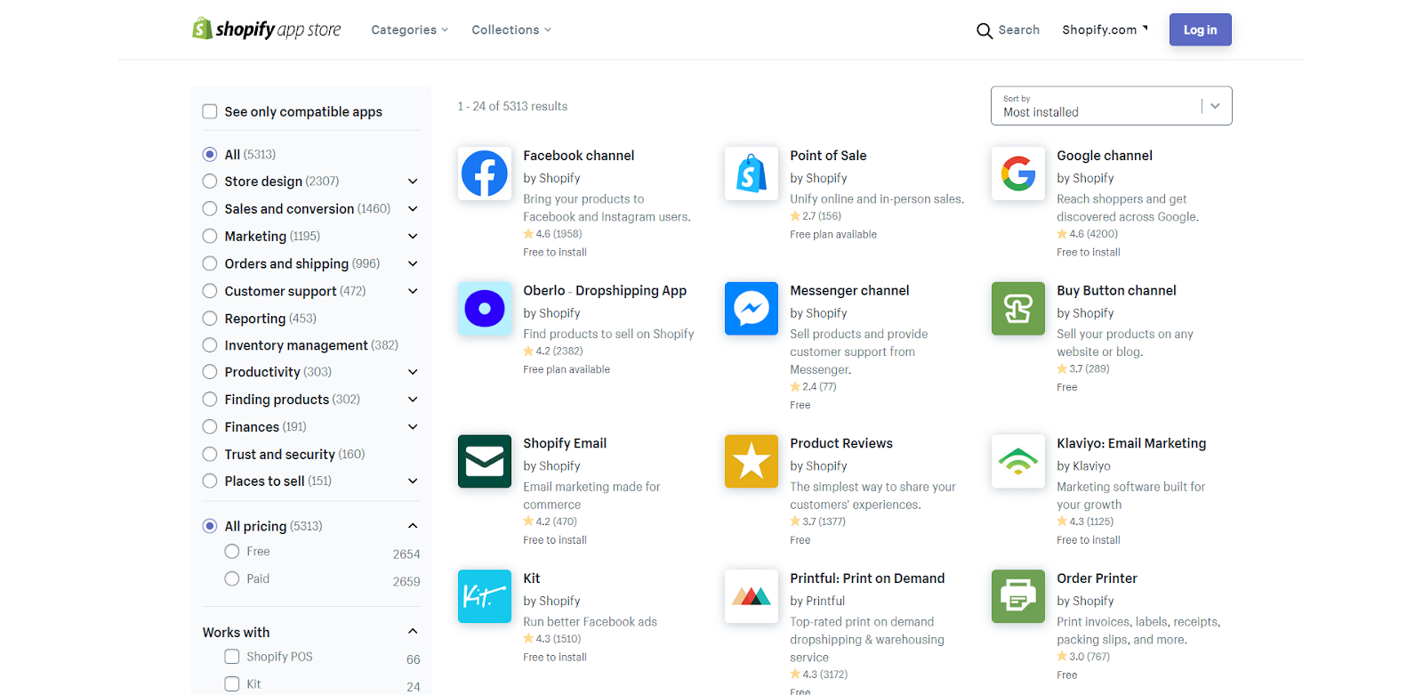 shopify app store selection is huge