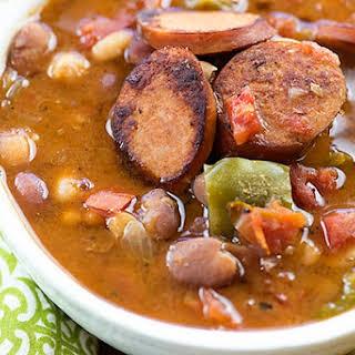 Slow Cooker Cajun Sausage and Bean Soup.