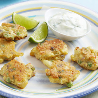 Indian Cauliflower Fritters with Cucumber Raita
