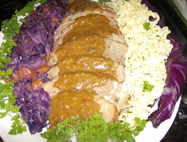Sauerbraten W/braised Cabbage & Buttered Noodles Recipe