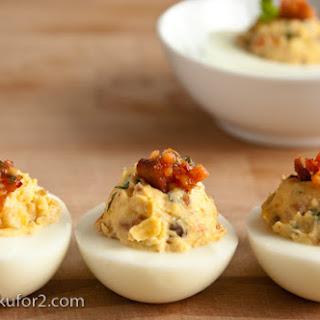 Kimchi Bacon Deviled Eggs