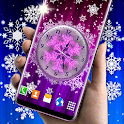 Winter Analog Clock ❄️ Frozen Snow Live Wallpaper icon