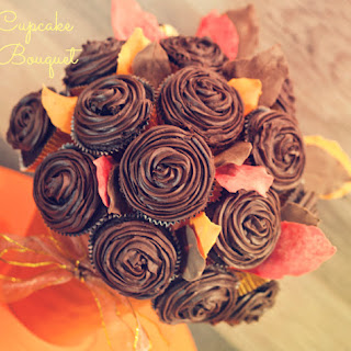 Cupcake Bouquet With Chocolate Leaves.