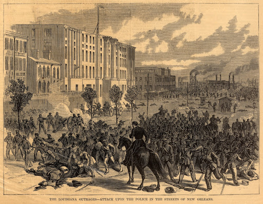 """The Louisiana Outrages--Attack Upon the Police in the Streets of New Orleans"""