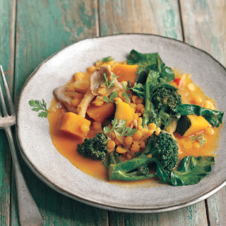 Thai Red Curry with Winter Squash, Mushrooms, and Broccoli.