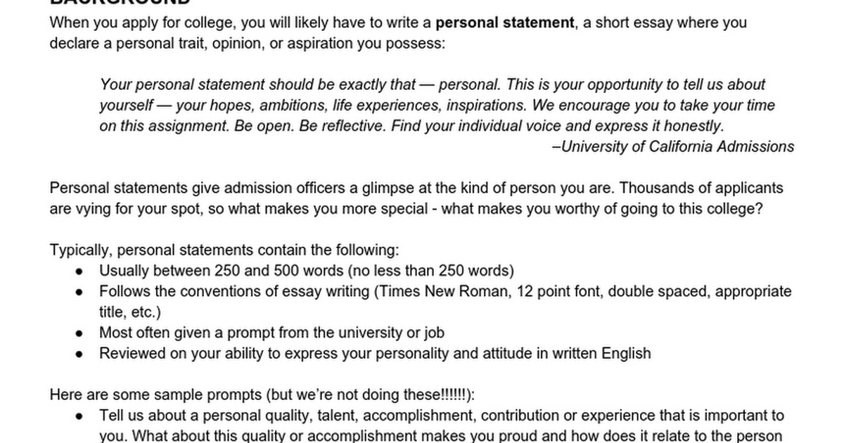 Personal Statements Writing Services We Offer