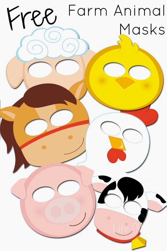 sheep, chick, hen, horse, pig, cow printable masks