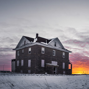 Subzero Sunset by Corey Gross - Buildings & Architecture Decaying & Abandoned ( winter, sunset, south dakota, freezing, abandoned )