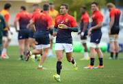 Cheslin Kolbe of South Africa runs during a South Africa Springboks Training Session at Churchie Grammar School on September 4, 2018 in Brisbane, Australia.