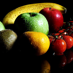 Fruits by Vineet Johri - Food & Drink Fruits & Vegetables ( banana, red, green reflection, apple, kiwi, pwcvegetables, tomatos )