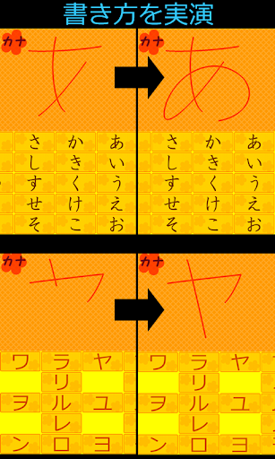 Pointing the hiragana