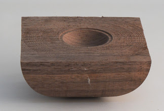 "Photo: Gary Guenther 4 3/4"" x 2"" Mark Gardner style: rough turned, multi-axis, textured bowl from class (still with tape residue) [walnut]"
