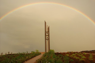 Photo: A full rainbow highlighting the beauty of the Bell Tower.